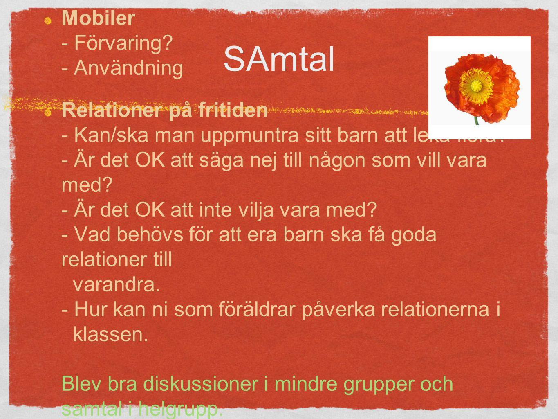 SAmtal Mobiler - Förvaring.