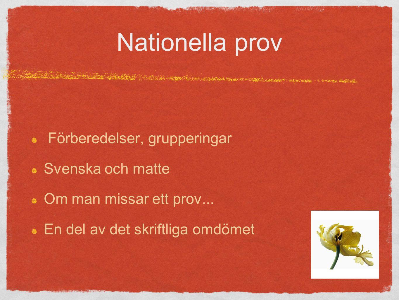 Nationella prov Förberedelser, grupperingar Svenska och matte Om man missar ett prov...