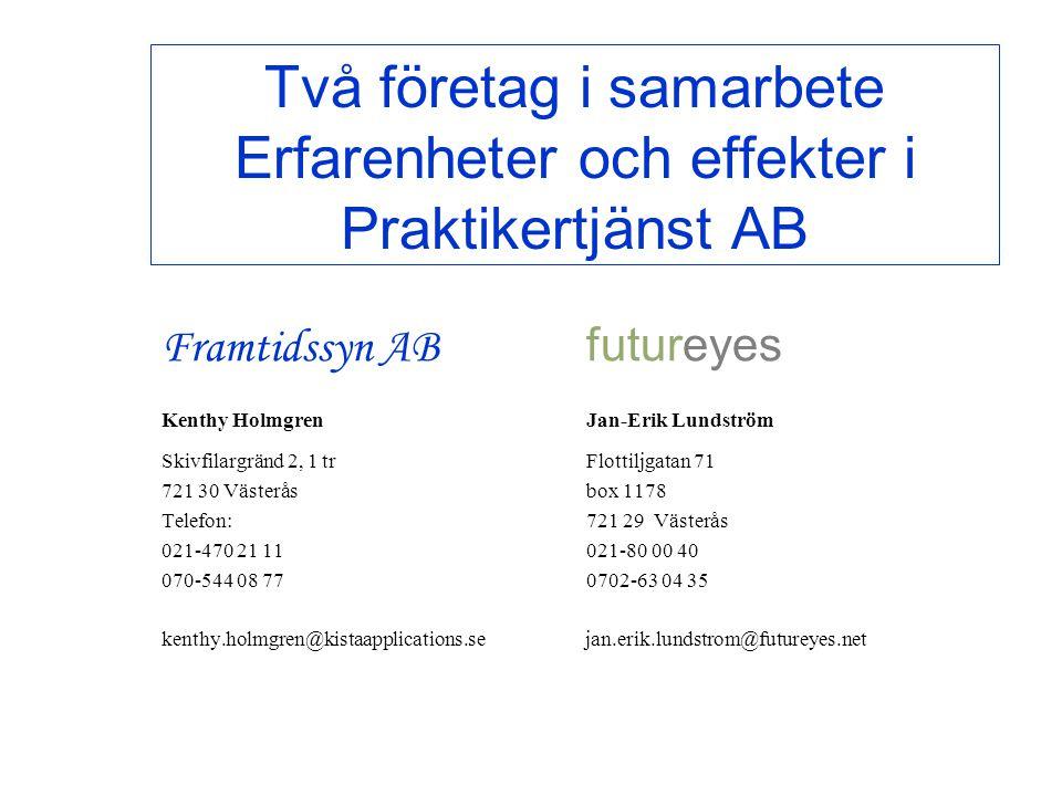 futureyes Programmet Styr för framtiden •Initierat och administrerat av utbildningsavdelningen på Praktikertjänst •Deltagande handledare från Praktikertjänst •Start första programmet 14 februari 2002