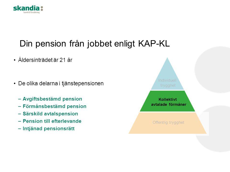 Din pension från jobbet enligt KAP-KL •Åldersinträdet är 21 år •De olika delarna i tjänstepensionen –Avgiftsbestämd pension –Förmånsbestämd pension –S