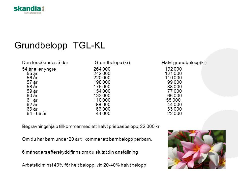 Grundbelopp TGL-KL Den försäkrades ålder Grundbelopp (kr) Halvt grundbelopp(kr) 54 år eller yngre264 000132 000 55 år242 000121 000 56 år220 000110 00