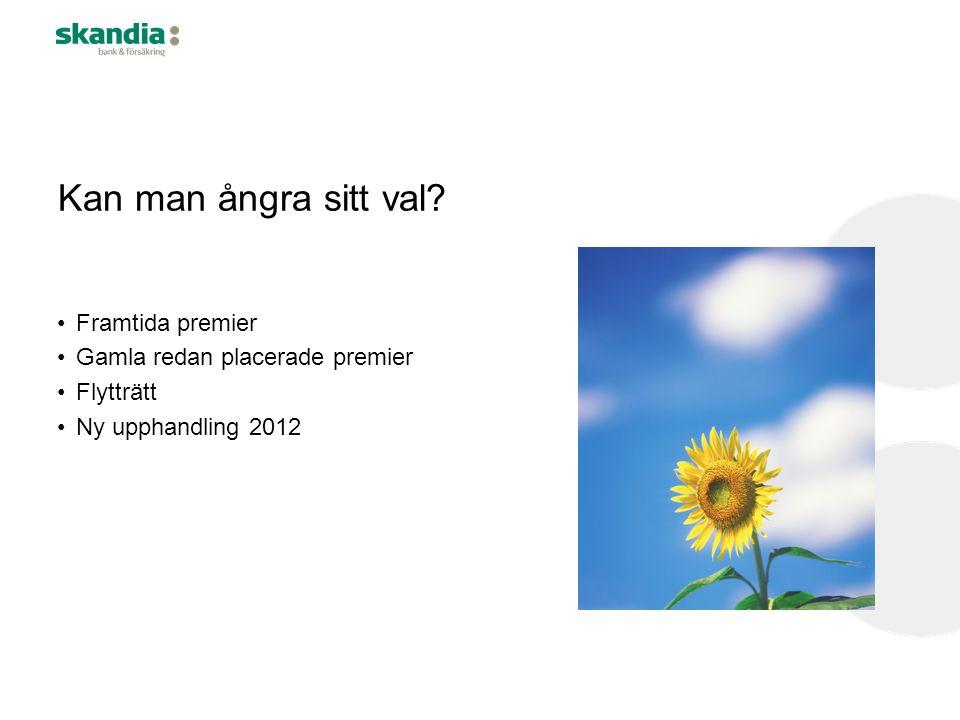 Kan man ångra sitt val? •Framtida premier •Gamla redan placerade premier •Flytträtt •Ny upphandling 2012