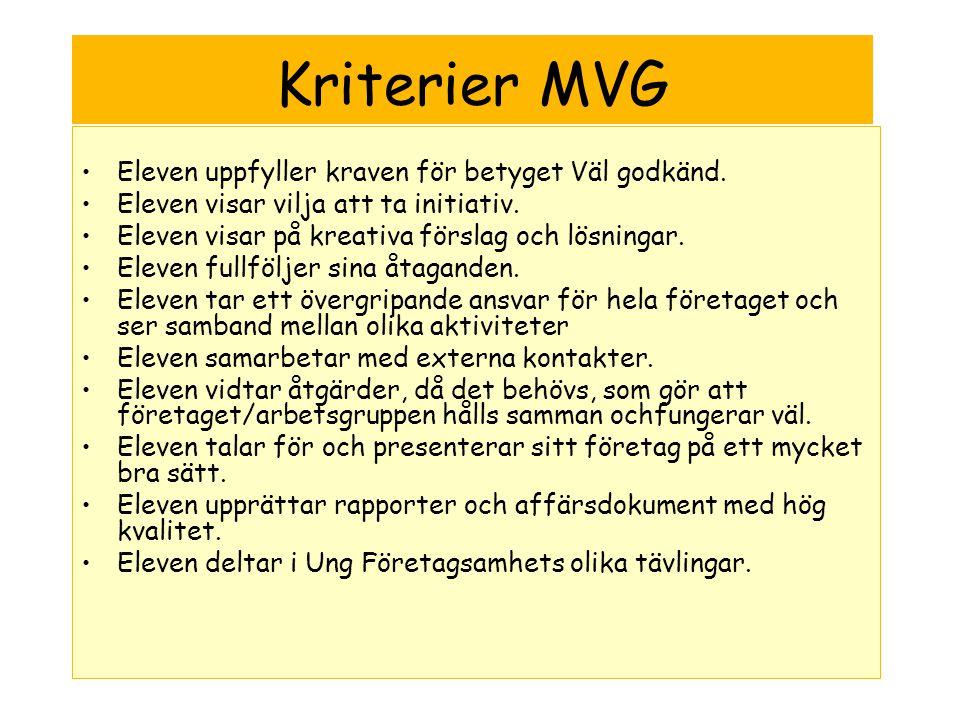 Kriterier MVG •Eleven uppfyller kraven för betyget Väl godkänd.