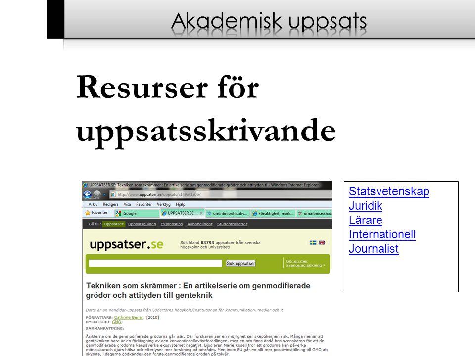 Resurser för uppsatsskrivande Statsvetenskap Juridik Lärare Internationell Journalist