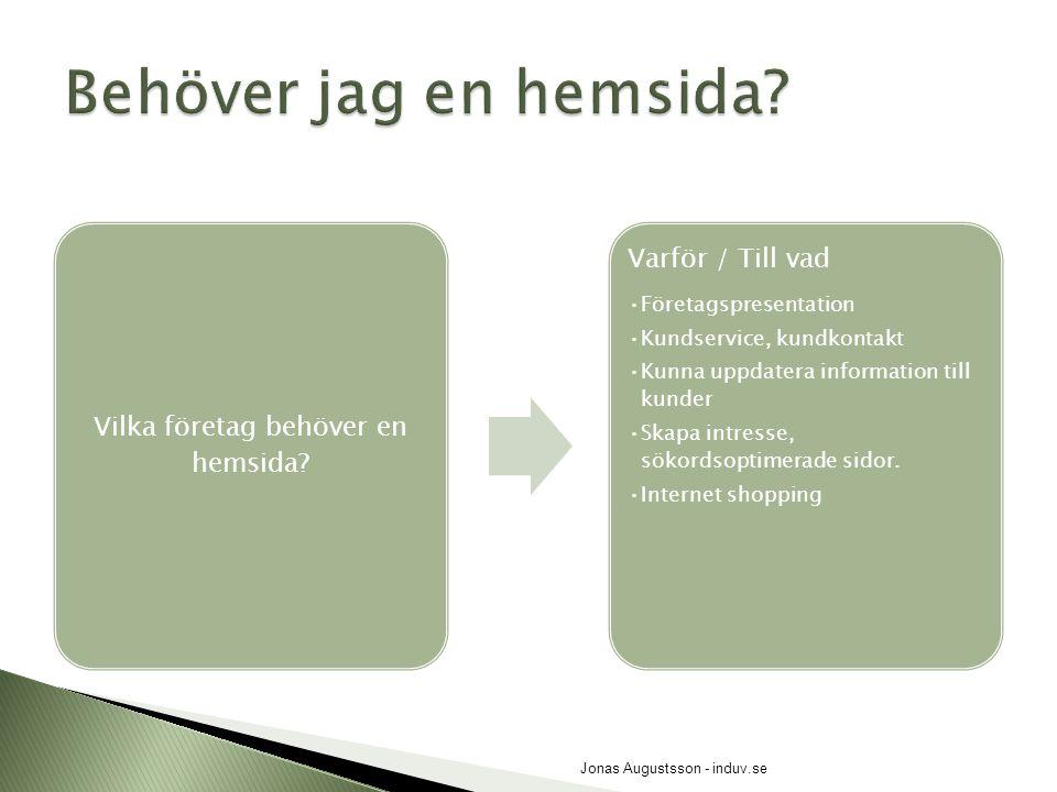 SlutkundFöretag, B2BHur vana internetanvändare är besökarna?ÅldersgruppKönBranschens standard Jonas Augustsson - induv.se
