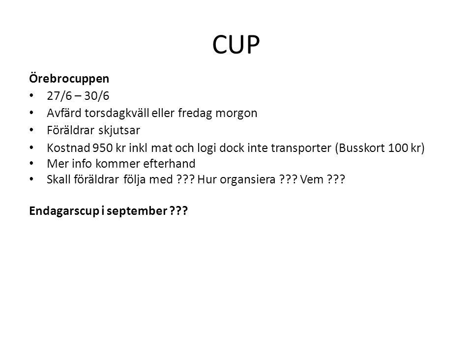 CUP Örebrocuppen • 27/6 – 30/6 • Avfärd torsdagkväll eller fredag morgon • Föräldrar skjutsar • Kostnad 950 kr inkl mat och logi dock inte transporter (Busskort 100 kr) • Mer info kommer efterhand • Skall föräldrar följa med ??.