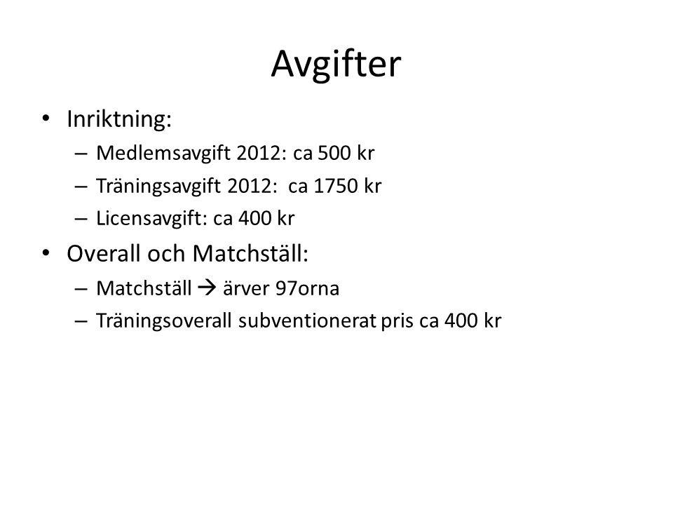 Avgifter • Inriktning: – Medlemsavgift 2012: ca 500 kr – Träningsavgift 2012: ca 1750 kr – Licensavgift: ca 400 kr • Overall och Matchställ: – Matchst
