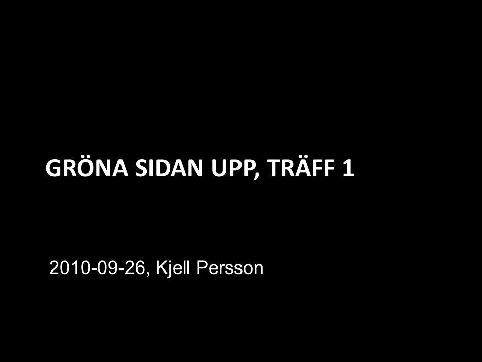GRÖNA SIDAN UPP, TRÄFF 1 2010-09-26, Kjell Persson