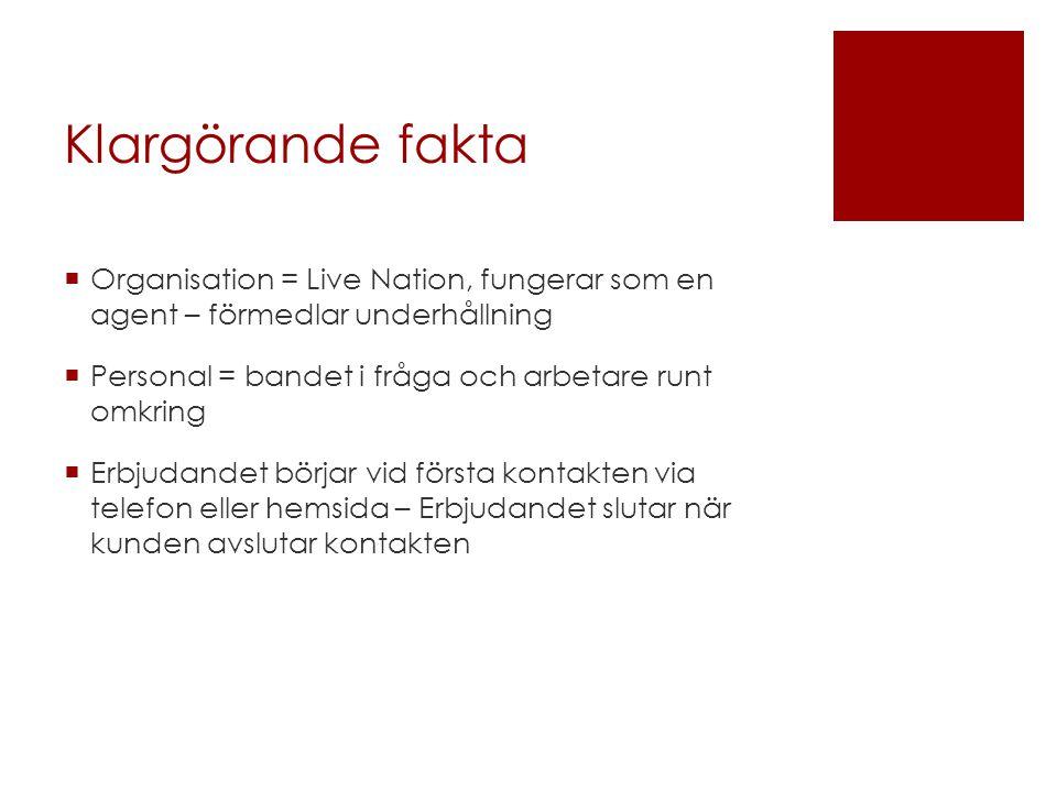 Klargörande fakta  Organisation = Live Nation, fungerar som en agent – förmedlar underhållning  Personal = bandet i fråga och arbetare runt omkring