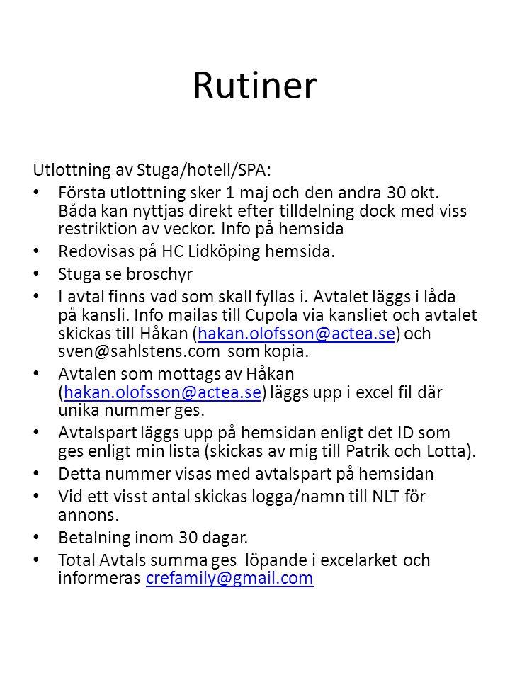 Rutiner Utlottning av Stuga/hotell/SPA: • Första utlottning sker 1 maj och den andra 30 okt. Båda kan nyttjas direkt efter tilldelning dock med viss r