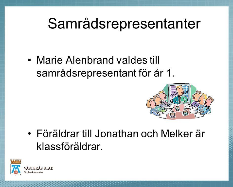 Samrådsrepresentanter •Marie Alenbrand valdes till samrådsrepresentant för år 1. •Föräldrar till Jonathan och Melker är klassföräldrar.