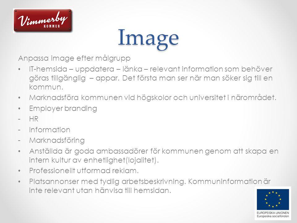 Image Anpassa image efter målgrupp • IT-hemsida – uppdatera – länka – relevant information som behöver göras tillgänglig – appar.