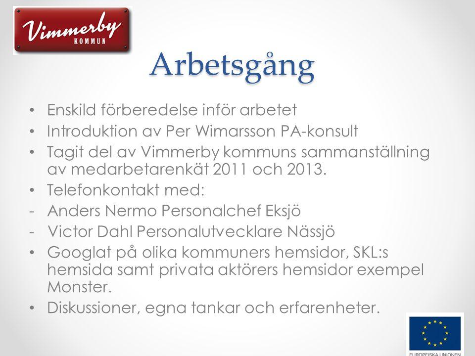 Arbetsgång • Enskild förberedelse inför arbetet • Introduktion av Per Wimarsson PA-konsult • Tagit del av Vimmerby kommuns sammanställning av medarbetarenkät 2011 och 2013.