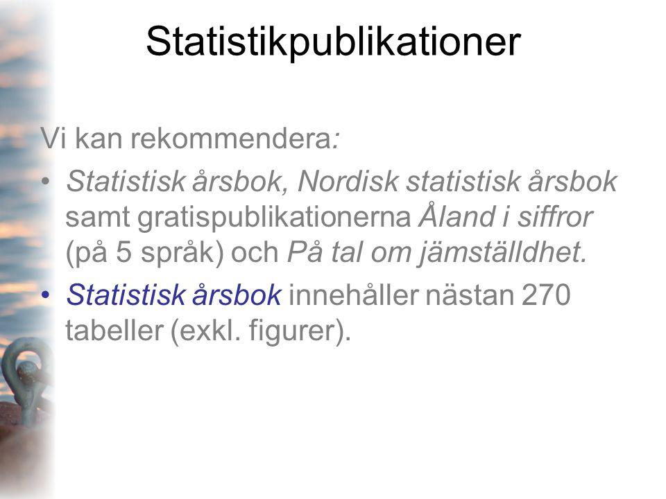 Statistikpublikationer Vi kan rekommendera: •Statistisk årsbok, Nordisk statistisk årsbok samt gratispublikationerna Åland i siffror (på 5 språk) och På tal om jämställdhet.