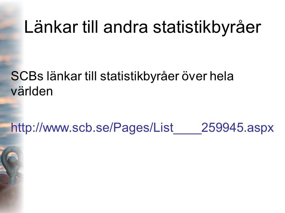 Länkar till andra statistikbyråer SCBs länkar till statistikbyråer över hela världen http://www.scb.se/Pages/List____259945.aspx