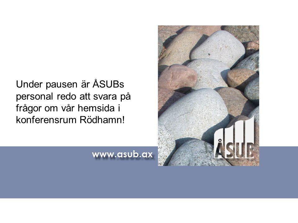 Under pausen är ÅSUBs personal redo att svara på frågor om vår hemsida i konferensrum Rödhamn!