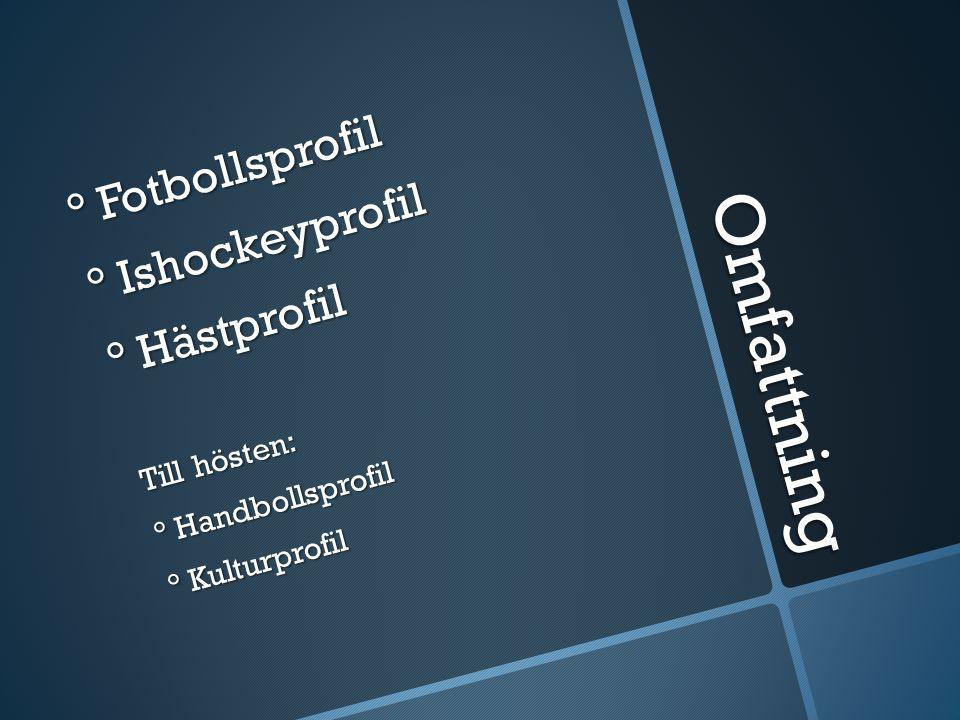 Omfattning ° Fotbollsprofil ° Ishockeyprofil ° Hästprofil Till hösten: ° Handbollsprofil ° Kulturprofil