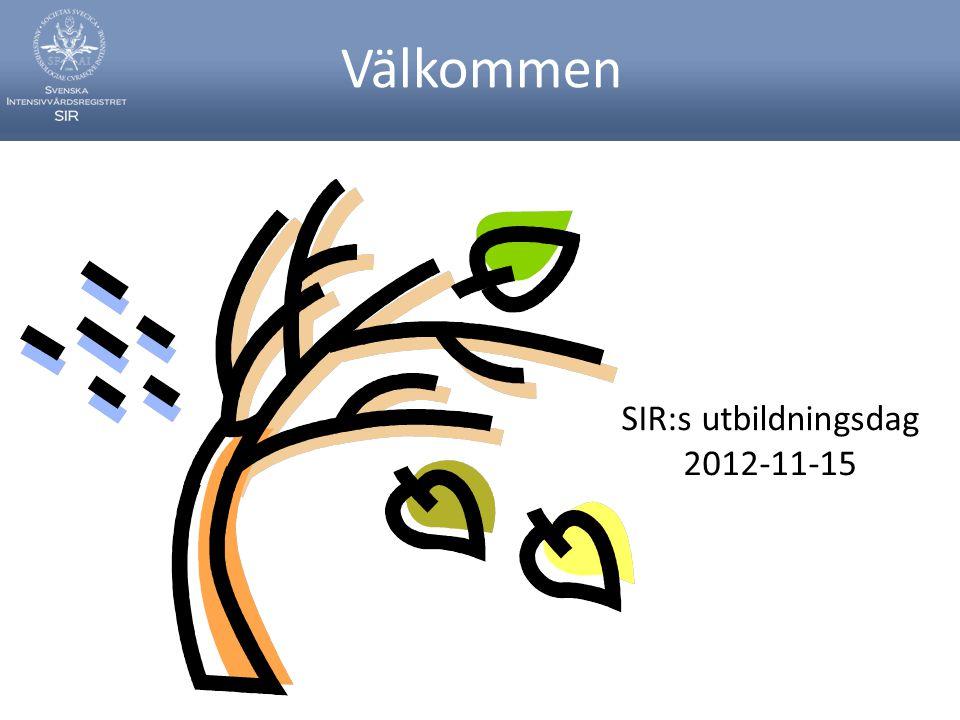 Välkommen SIR:s utbildningsdag 2012-11-15