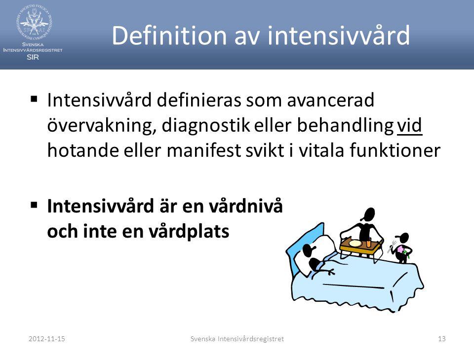 Definition av intensivvård  Intensivvård definieras som avancerad övervakning, diagnostik eller behandling vid hotande eller manifest svikt i vitala