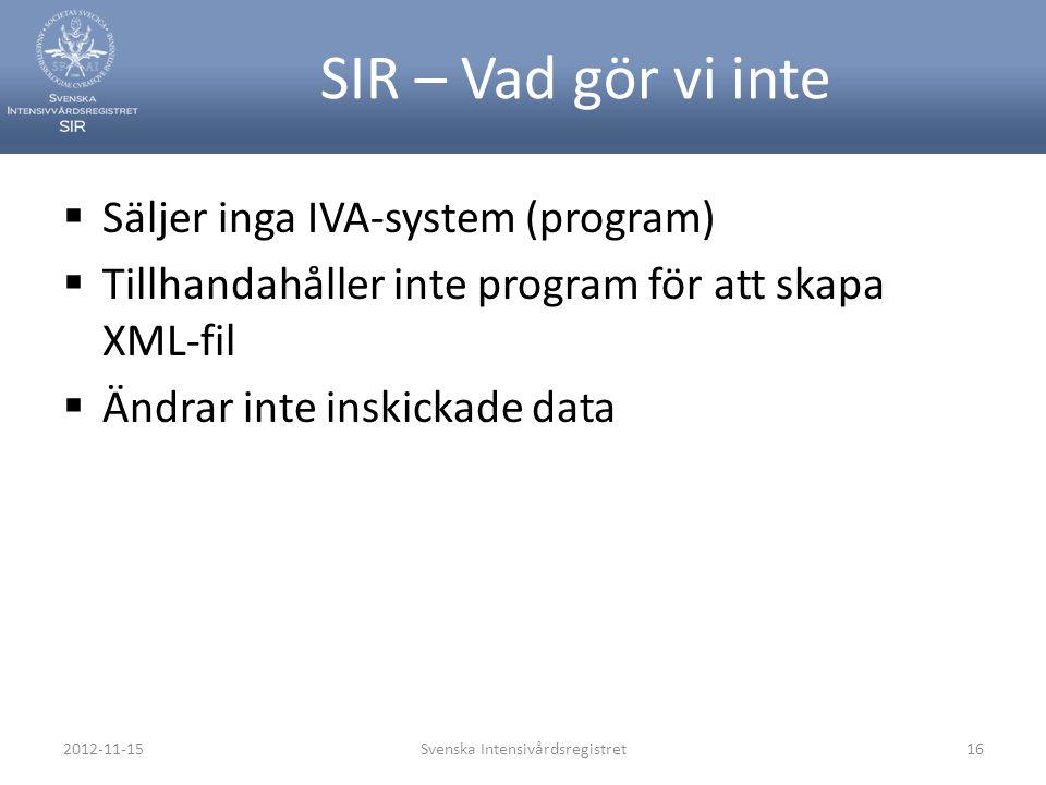 SIR – Vad gör vi inte  Säljer inga IVA-system (program)  Tillhandahåller inte program för att skapa XML-fil  Ändrar inte inskickade data 2012-11-15
