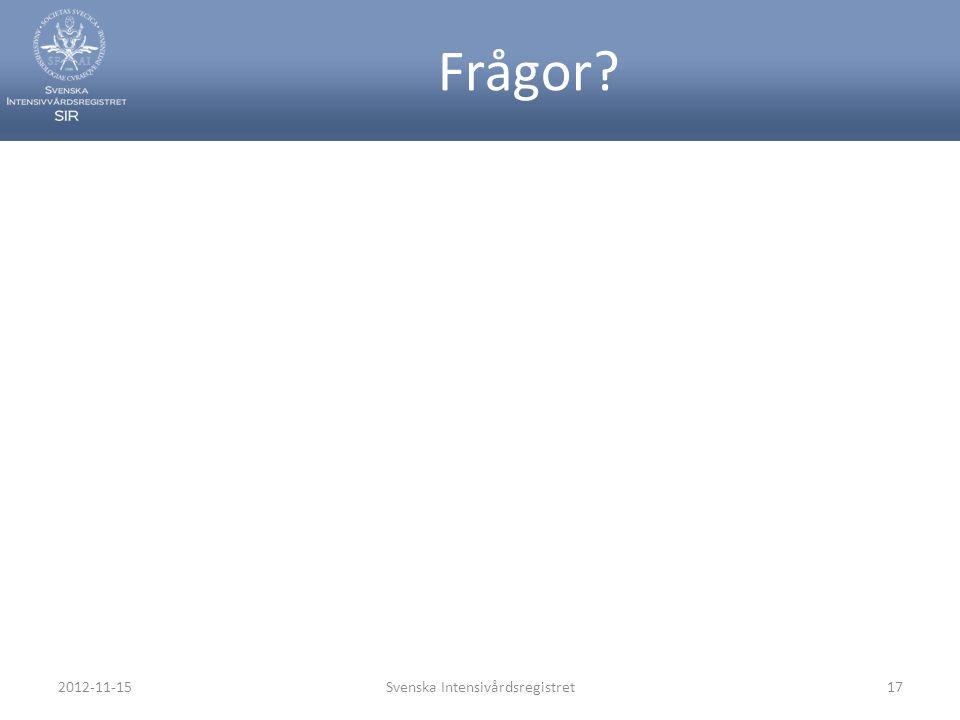 Frågor? 2012-11-15Svenska Intensivårdsregistret17