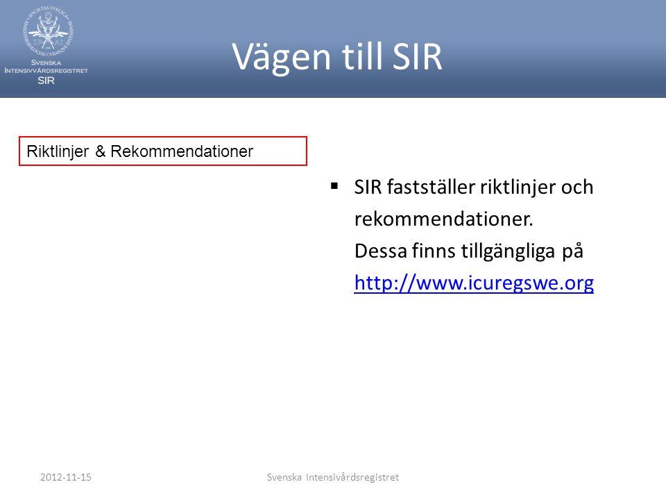2012-11-15Svenska Intensivårdsregistret Vägen till SIR  SIR fastställer riktlinjer och rekommendationer. Dessa finns tillgängliga på http://www.icure