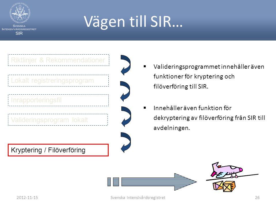 2012-11-15Svenska Intensivårdsregistret26 Vägen till SIR…  Valideringsprogrammet innehåller även funktioner för kryptering och filöverföring till SIR
