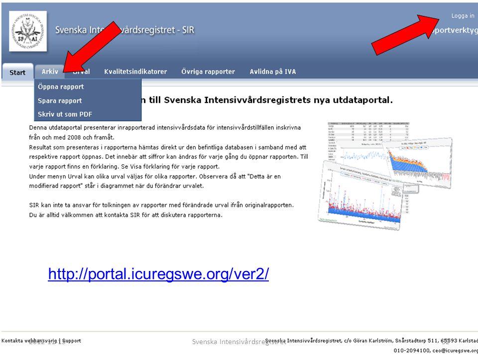 SIR:s utdataportal…. http://portal.icuregswe.org/ver2/ 2012-11-15Svenska Intensivårdsregistret32