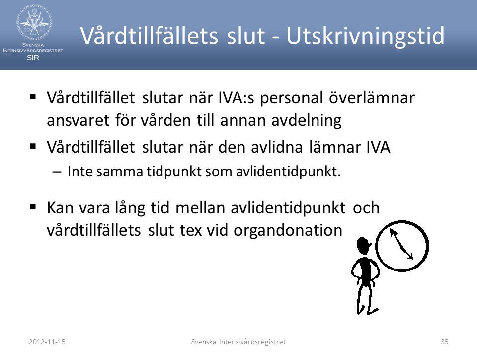 2012-11-15Svenska Intensivårdsregistret35 Vårdtillfällets slut - Utskrivningstid  Vårdtillfället slutar när IVA:s personal överlämnar ansvaret för vå