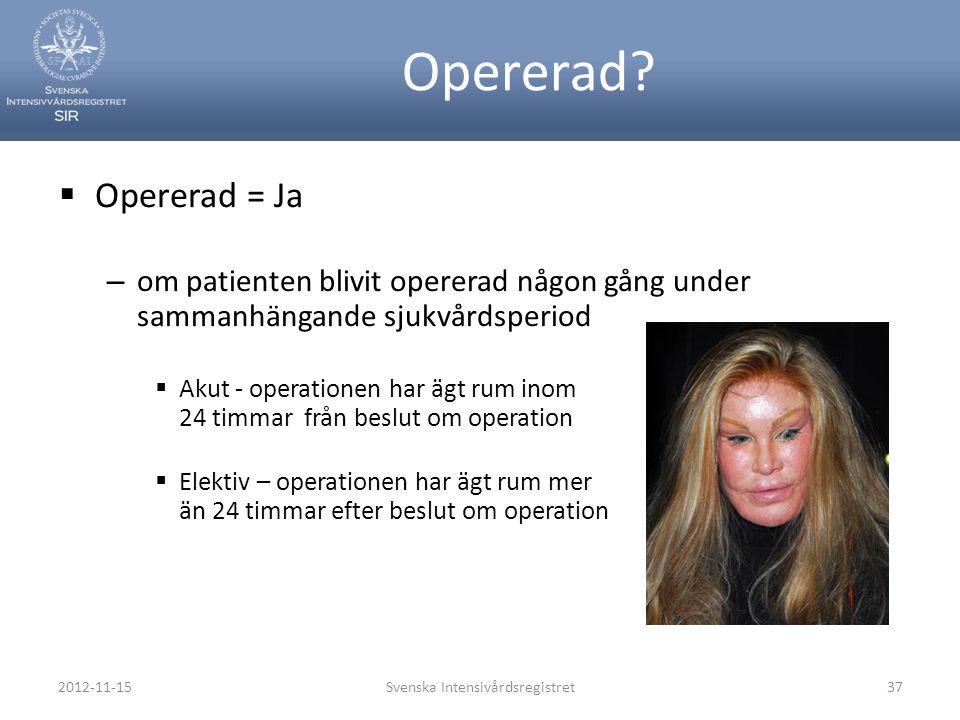 Opererad?  Opererad = Ja – om patienten blivit opererad någon gång under sammanhängande sjukvårdsperiod  Akut - operationen har ägt rum inom 24 timm