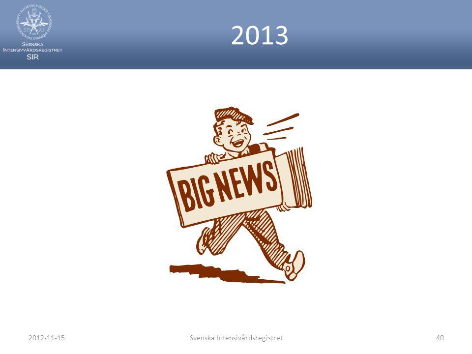 2013 2012-11-15Svenska Intensivårdsregistret40