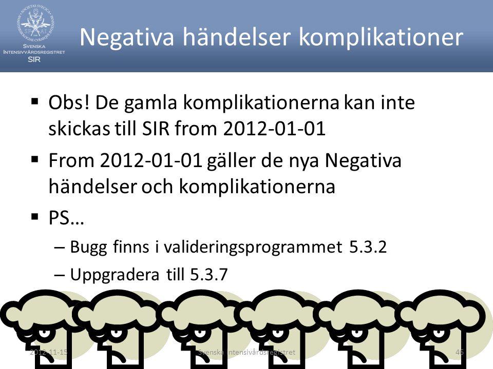 Negativa händelser komplikationer  Obs! De gamla komplikationerna kan inte skickas till SIR from 2012-01-01  From 2012-01-01 gäller de nya Negativa