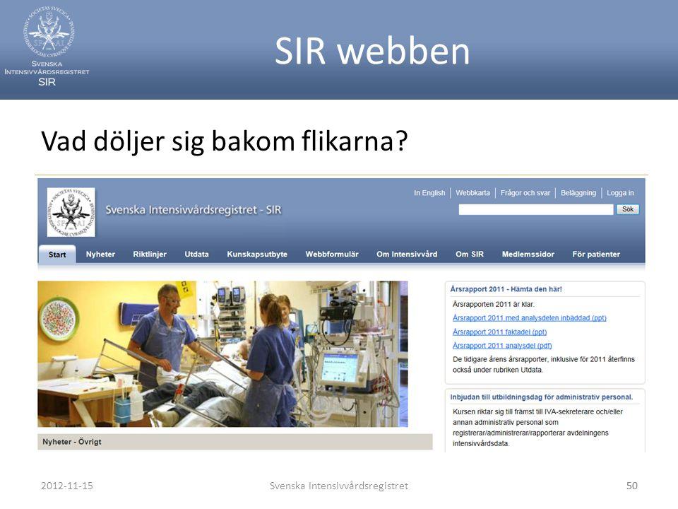 SIR webben Svenska Intensivvårdsregistret50 Vad döljer sig bakom flikarna? 2012-11-1550