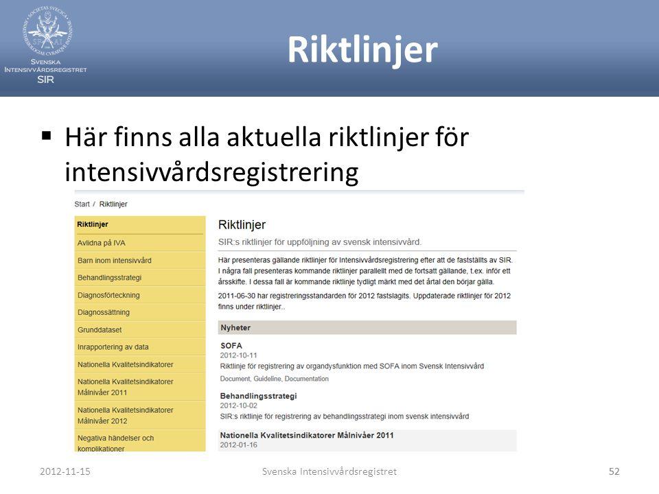 Riktlinjer  Här finns alla aktuella riktlinjer för intensivvårdsregistrering Svenska Intensivvårdsregistret522012-11-1552