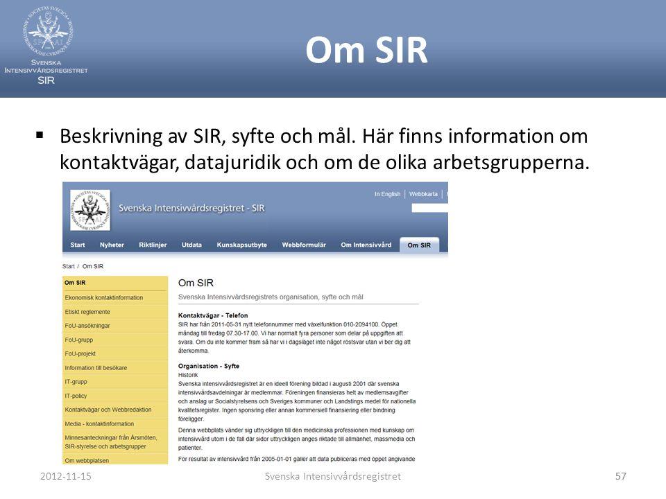 Om SIR  Beskrivning av SIR, syfte och mål. Här finns information om kontaktvägar, datajuridik och om de olika arbetsgrupperna. Svenska Intensivvårdsr