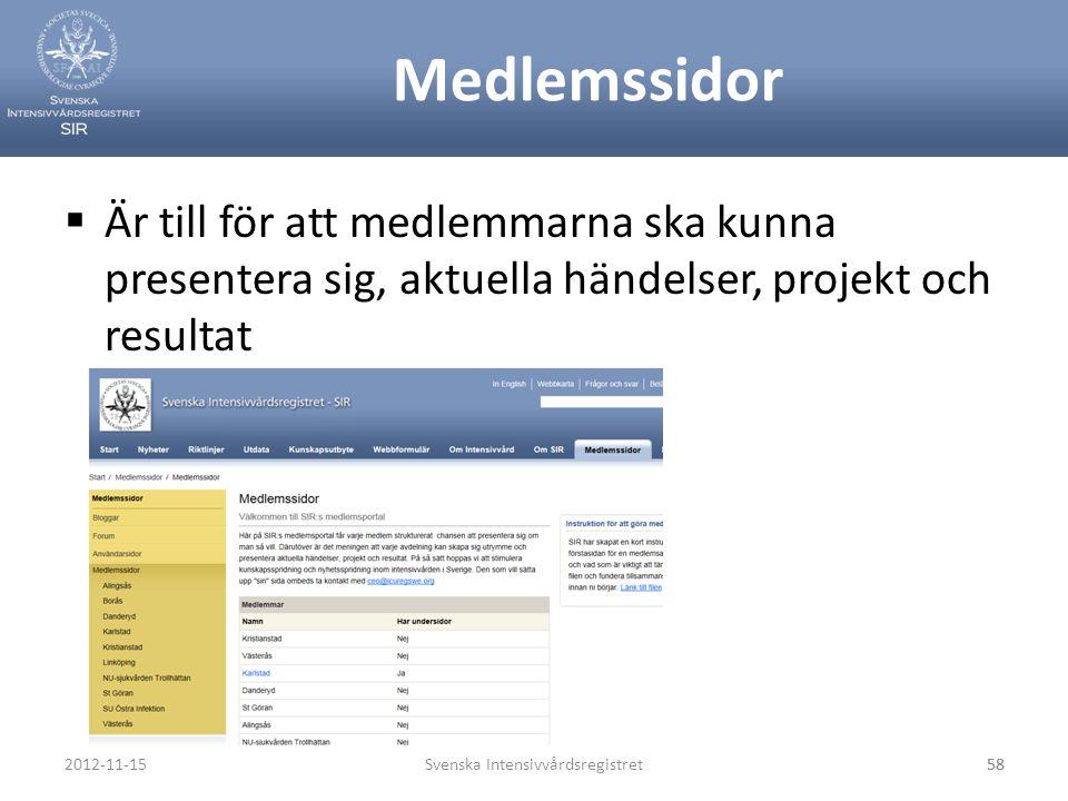 Medlemssidor  Är till för att medlemmarna ska kunna presentera sig, aktuella händelser, projekt och resultat Svenska Intensivvårdsregistret582012-11-