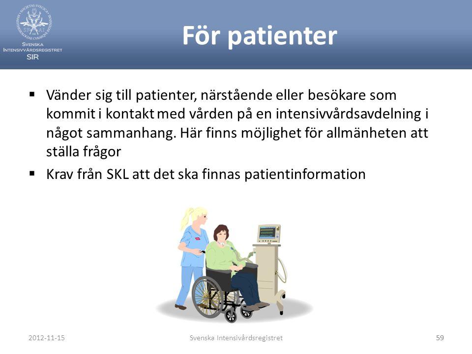 För patienter  Vänder sig till patienter, närstående eller besökare som kommit i kontakt med vården på en intensivvårdsavdelning i något sammanhang.