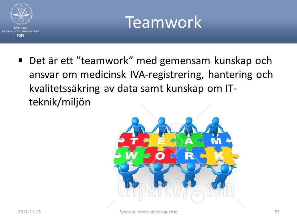 """Teamwork  Det är ett """"teamwork"""" med gemensam kunskap och ansvar om medicinsk IVA-registrering, hantering och kvalitetssäkring av data samt kunskap om"""