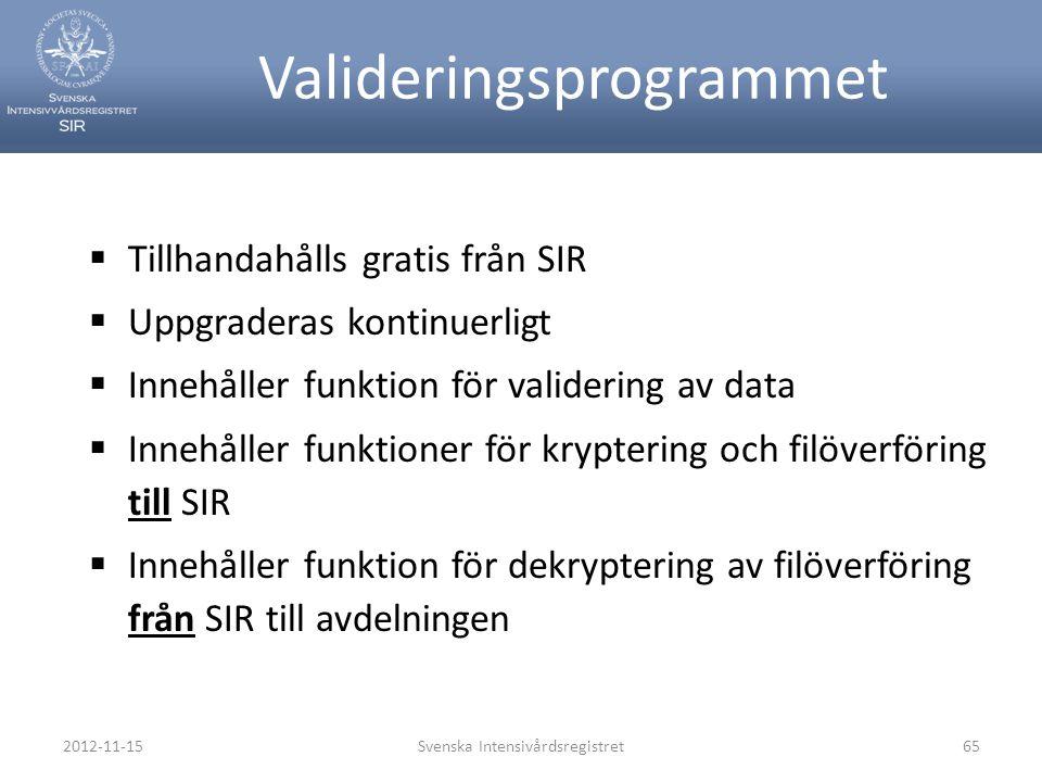 2012-11-15Svenska Intensivårdsregistret65 Valideringsprogrammet  Tillhandahålls gratis från SIR  Uppgraderas kontinuerligt  Innehåller funktion för