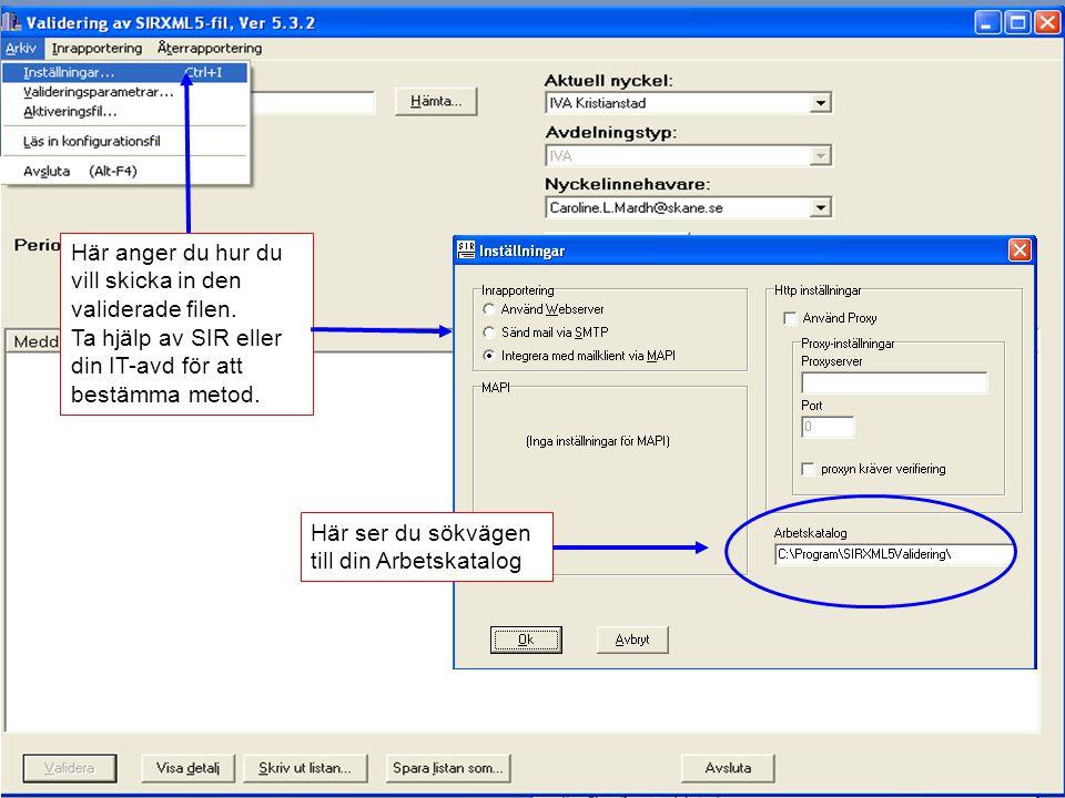 2012-11-15Svenska Intensivårdsregistret67 Inställningar för att få iväg filen Här anger du hur du vill skicka in den validerade filen. Ta hjälp av SIR