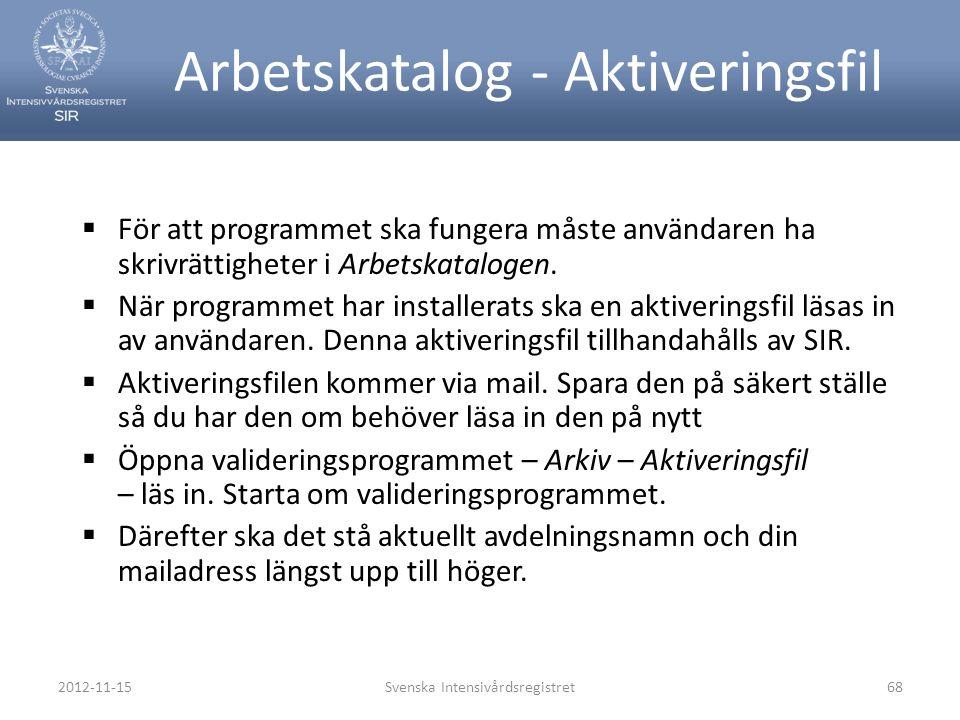 2012-11-15Svenska Intensivårdsregistret68 Arbetskatalog - Aktiveringsfil  För att programmet ska fungera måste användaren ha skrivrättigheter i Arbet