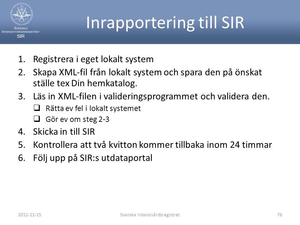 2012-11-15Svenska Intensivårdsregistret76 Inrapportering till SIR 1.Registrera i eget lokalt system 2.Skapa XML-fil från lokalt system och spara den p