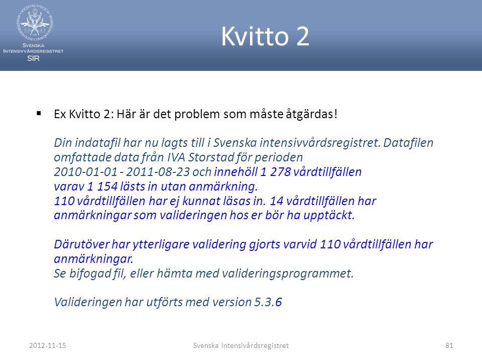81 Kvitto 2  Ex Kvitto 2: Här är det problem som måste åtgärdas! Din indatafil har nu lagts till i Svenska intensivvårdsregistret. Datafilen omfattad