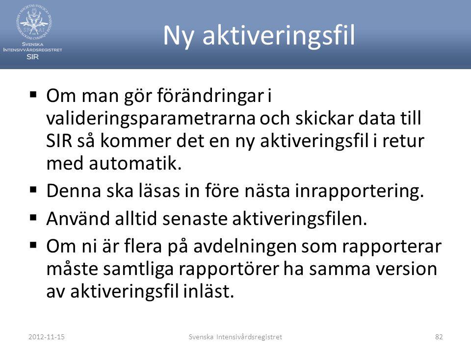 2012-11-15Svenska Intensivårdsregistret82 Ny aktiveringsfil  Om man gör förändringar i valideringsparametrarna och skickar data till SIR så kommer de