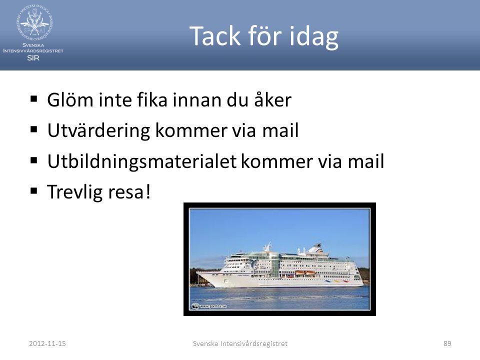 Tack för idag  Glöm inte fika innan du åker  Utvärdering kommer via mail  Utbildningsmaterialet kommer via mail  Trevlig resa! 2012-11-15Svenska I