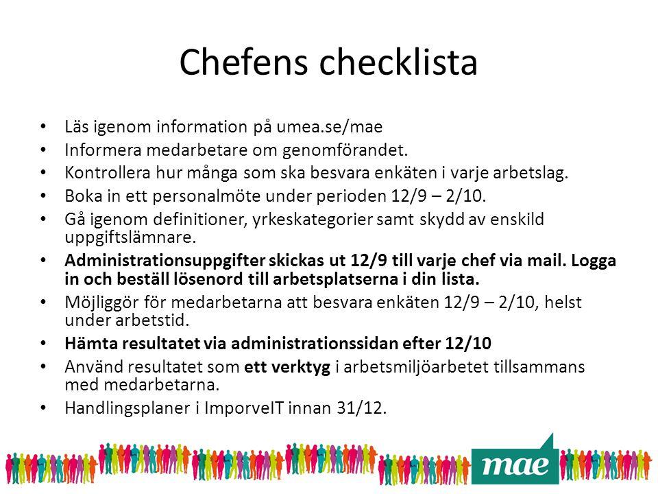 Chefens checklista • Läs igenom information på umea.se/mae • Informera medarbetare om genomförandet. • Kontrollera hur många som ska besvara enkäten i