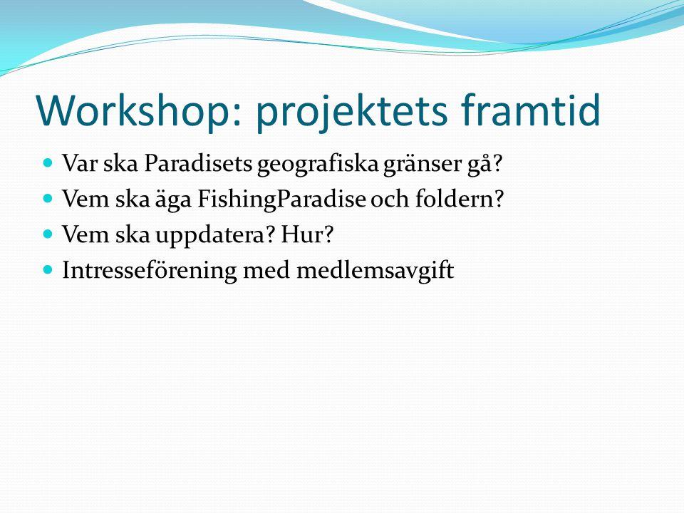Workshop: projektets framtid  Var ska Paradisets geografiska gränser gå?  Vem ska äga FishingParadise och foldern?  Vem ska uppdatera? Hur?  Intre