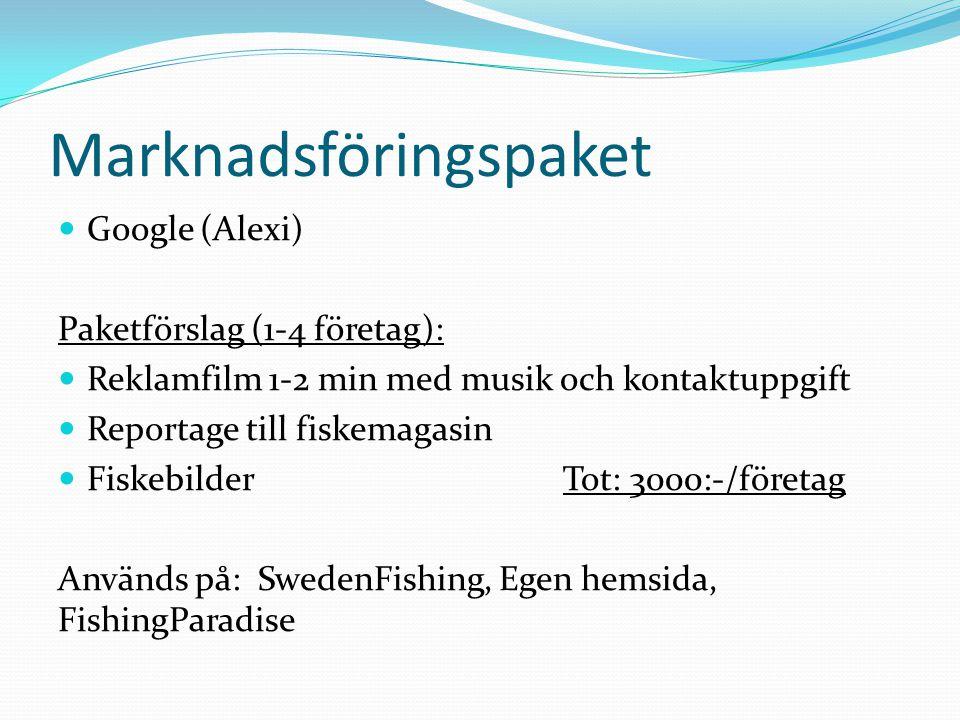 Marknadsföringspaket  Google (Alexi) Paketförslag (1-4 företag):  Reklamfilm 1-2 min med musik och kontaktuppgift  Reportage till fiskemagasin  Fi