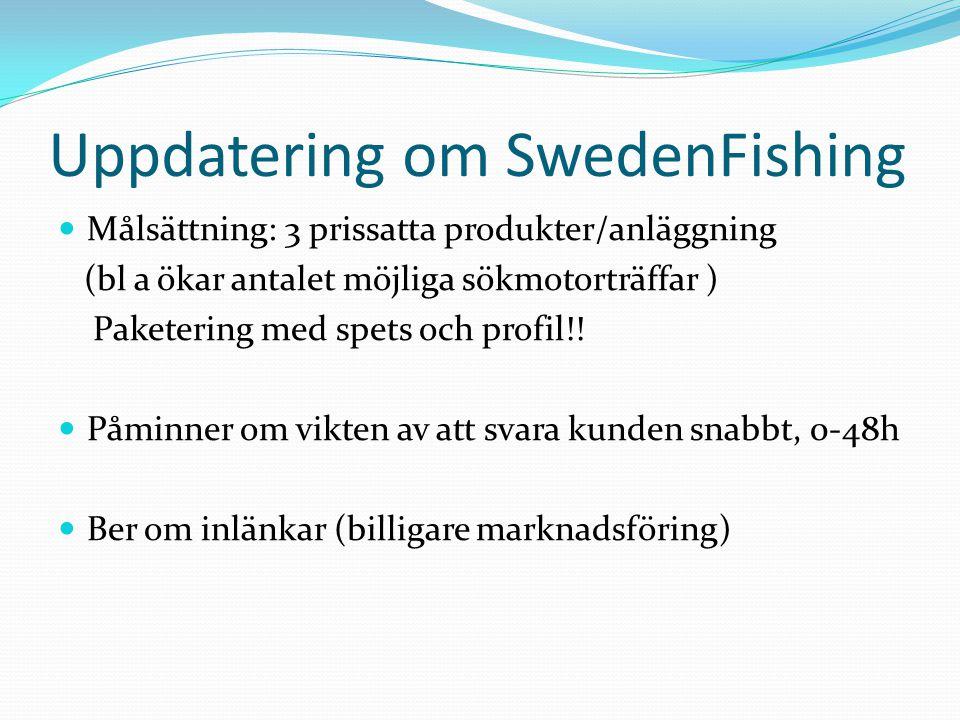 Uppdatering om SwedenFishing  Målsättning: 3 prissatta produkter/anläggning (bl a ökar antalet möjliga sökmotorträffar ) Paketering med spets och pro