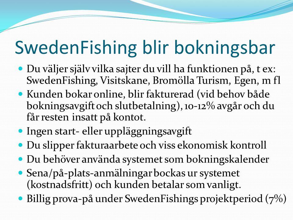 SwedenFishing blir bokningsbar  Du väljer själv vilka sajter du vill ha funktionen på, t ex: SwedenFishing, Visitskane, Bromölla Turism, Egen, m fl 